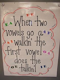 vowel team poster school. I'm not a teacher but I loved the rhyme