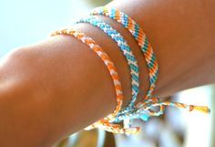 Orange Bracelet Turquoise Teal Bracelet Knotted Summer