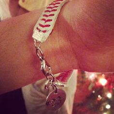 Bracelet made from the cover of a baseball with my boyfriends number on it!