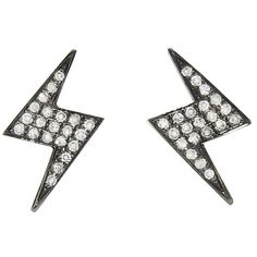 SHAY Lightning Bolt Earrings - Black Gold ($580) ❤ liked on Polyvore featuring jewelry, earrings, black, handcrafted earrings, lightning bolt earrings, stud earrings, gold jewellery and 18k earrings