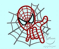 spiderman Applique Design for Embroidery Machines 5 x 7 - instant download | EmbroideryDesigns - Patterns on ArtFire