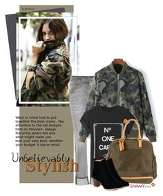 """""""Street Style Trend - Camo Jacket"""" by beebeely-look ❤ liked on Polyvore featuring 7 For All Mankind, Louis Vuitton, women's clothing, women, female, woman, misses, juniors, StreetStyle and denim"""