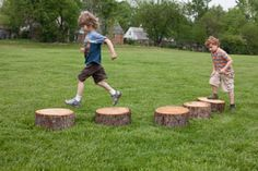 http://adventurouschild.com/stepping-stumps.php  Including Stepping Stumps as outdoor play equipment for preschools is a great way to create a fun and natural playscape. #playoutdoors