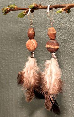Semi long grey chicken feather earrings