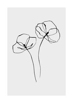 Line Flower Poster in the Poster / Illustration group at Desenio AB . - Line Flower Poster in the Poster / Illustration group at Desenio AB - Line Art Flowers, Flower Line Drawings, Simple Line Drawings, Line Flower, Flower Sketches, Pencil Art Drawings, Art Drawings Sketches, Easy Drawings, Flower Art