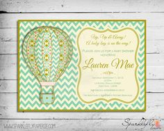 Shabby Chic Hot Air Balloon Baby Shower / Birthday Party Invitation (Custom DIY Printable)