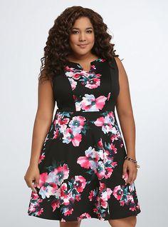 Floral Scuba Skater Dress,