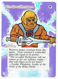 MTG Altered Painted Swords to Plowshares Iceage He-man FREE SHIPPING #WizardsoftheCoast