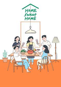 Family Illustration, Cute Illustration, Digital Illustration, Friends Illustration, Korean Illustration, Cartoon Drawings, Cartoon Art, Farm Cartoon, Book Cover Background