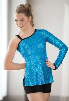 One Sleeve Sequin Tunic #dance #dancewear #danceteam #sequin #tunic