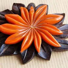 Bakelite And Wood Flower Brooch
