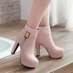 New Women Pink Round Toe Chunky Pearl Zipper Fashion Ankle Boots Available Sizes Shaft Height Heel Height Platform Height Heel Height :High Heel Type :Chunky Boot Shaft :Ankle Color :Pink Toe :Round Shoe Vamp :PU Leather Closure :Zipper High Heel Boots, Heeled Boots, Shoe Boots, Shoes Heels, Pump Shoes, Flats, Fancy Shoes, Pretty Shoes, Fashion Heels