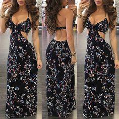 510f633ab603 Womens Summer Boho Casual Long Maxi Evening Party Loose Beach Dresses  Sundress