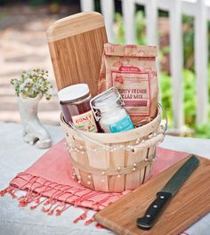 """""""It's a Wonderful LIfe"""" housewarming gift basket. Bread - that this house may never know hunger. Salt - that life may always have flavor. Wine - that joy and prosperity may reign forever."""