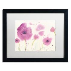 """Trademark Art """"Purple Poppies"""" by Sheila Golden Matted Framed Painting Print Size: 1"""