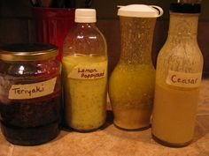 Homemade Terriyaki Sauce, Lemon Poppseed Dressing, Ranch Dressing, Caesar Dressing. From Passionate Homemaking, so 100% natural and healthy!