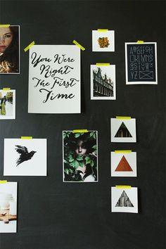 black board & yellow tape