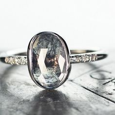 "New 2.92 carat salt & pepper diamond ring. Another ""Get on my finger"" situation. chincharmaloney.com"