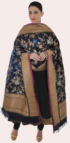 Black Banarasi Floral And Birds Zari Hand Woven Pure Silk Dupatta
