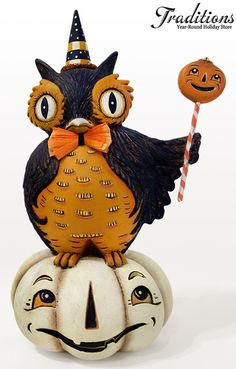 """2013  JOHANNA PARKER FOR BETHANY LOWE  PERCHED OWL ON PUMPKIN   Hand-painted Paper Pulp, glitter & crepe accents 8x5""""  #JP2133"""