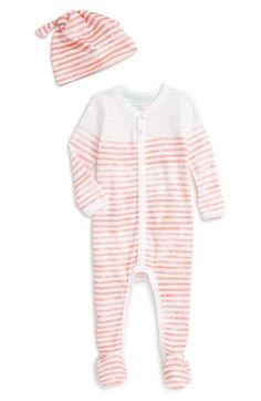 Burt s Bees Baby Stripe Organic Cotton Footie   Hat Set (Baby Girls)  f563912a3