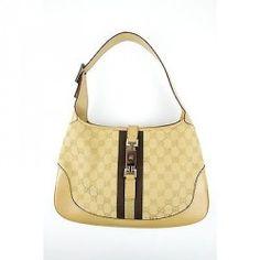 Gucci Beige Jackie O Canvas / Leather Monogram Purse Handbag Shoulder Bag