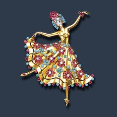 """AN ATTRACTIVE RUBY, TURQUOISE AND DIAMOND """"DANSEUSE HAWAII"""" BROOCH, BY VAN CLEEF & ARPELS, c.1944"""