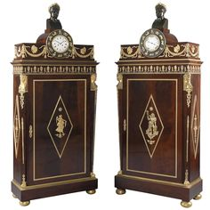 Impressive and Highly Important Pair of Empire Style Side Cabinets   From a unique collection of antique and modern cabinets at https://www.1stdibs.com/furniture/storage-case-pieces/cabinets/