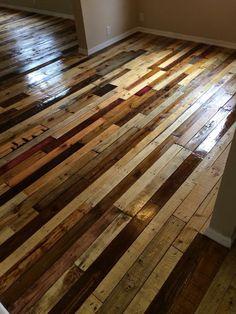 New Pallet Wood Kitchen Cabinets Bathroom Vanities Ideas Wood Pallet Flooring, Rustic Wood Floors, Diy Wood Floors, Diy Flooring, Wood Pallets, Pallet Wood, Painted Floors, Laminate Flooring, Hardwood Floors