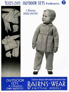 Vintage Outdoor Set, Coat, Leggings and Bonnet, Knitting Pattern,1950 (PDF)…