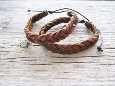 Brown Leather Braided Bracelet
