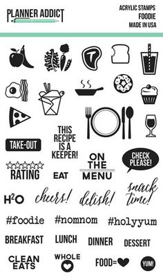 Pre-Order Planner Addict Foodie 4x6 Photopolymer Stamp set – Chic Tags