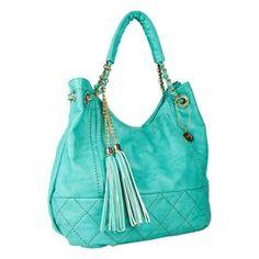 Hottest color of the season!    www.justjaneboutique.com @JustJaneAZ #handbag #turquoise #tassels $85