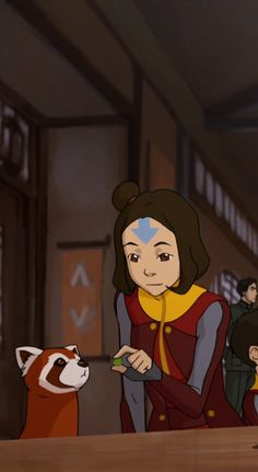 My favorite character (Jinora) and my BFF's fave character (Pabu).