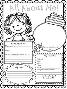 All About Me Back to School Poster Activity - Sea of Knowledge. Back to school poster activities to suit any level student or class. First Week Activities, Back To School Activities, Classroom Activities, Color Activities, All About Me Poster, All About Me Book, All About Me Preschool, All About Me Activities, English Activities