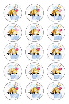 """Bee Bottle Cap 1"""" Circle Images Sheet #B21 (instant download or pre cut)"""