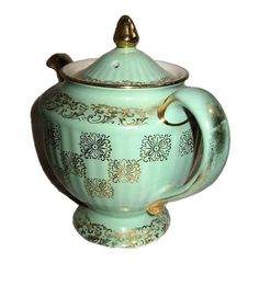 Hall China green teapot