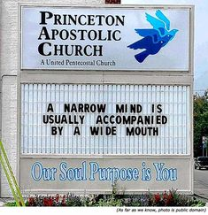 Hilarious silly signs: Funny church signs: Princeton Apostolic Church: A narrow mind is usually accompanied by a wide mouth! Church Sign Sayings, Funny Church Signs, Church Humor, Funny Signs, Hilarious Sayings, Hilarious Animals, Funny Animal, Church Memes, Christian Humor