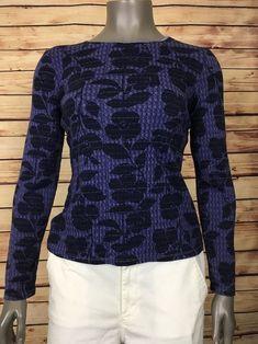J. Jill womens satin trimmed knit top purple floral size XS casual work #JJill #KnitTop #Casual