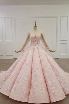 pink evening dress long sleeves o-neck beading sequined pattern lace up back luxury evening dress new платье вечернее Pink Wedding Dresses, Gorgeous Wedding Dress, Prom Dresses, Pink Ball Dresses, Quince Dresses, Wedding Outfits, Gown Wedding, Formal Dresses, Debut Dresses