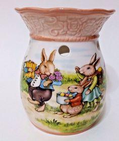 """Yankee Candle Vintage Easter Bunny Tart Burner Warmer - 5 1/2"""" x 4"""" -  NWOT"""