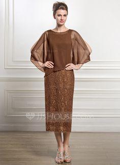Sheath/Column Scoop Neck Tea-Length Chiffon Lace Mother of the Bride Dress (008051477)