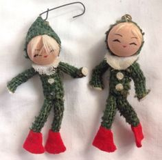 Vintage-Pair-Of-Christmas-Pixie-Elves-Ornaments-Holiday-Elf-Couple-Mid-Century