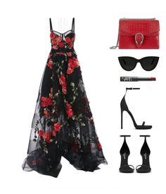 """""""This Marchesa dress <3"""" by baludna ❤ liked on Polyvore featuring Marchesa, Gucci, Lafonn, Yves Saint Laurent, Quay and NARS Cosmetics"""