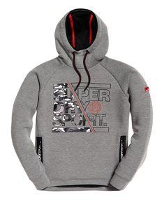 Hurrg Men Contrast Color Slim Pocket Letters Print Hoodie Sweatshirts
