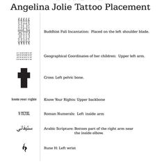 Angelina Jolie tattoo placement guide