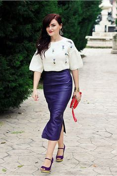 Discover this look wearing Violet Leather Vintage Skirts, White Cropped Sheinside Sweaters - Purple leather by Chaba styled for Leather, Everyday in the Winter Invisible Woman, Purple Leather, White Skirts, Vintage Skirt, Diy Fashion, Pretty Dresses, Spring Outfits, Dress Skirt, High Waisted Skirt
