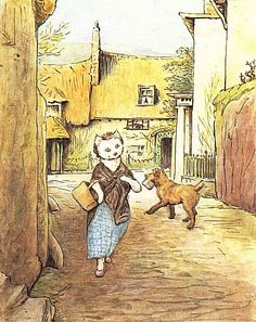 "From ""The Tale of Little Pig Robinson"" by Beatrix Potter - 'Susan with her basket met Stumpy' Tales Of Beatrix Potter, Beatrix Potter Illustrations, Beatrice Potter, Peter Rabbit And Friends, Fairytale Fantasies, Little Pigs, Woodland Creatures, Children's Book Illustration, Cute Art"