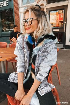Product Name:Multicolored Faux Fur Denim Jacket, Category:CLEARANCE_ZERO, Price:64.9
