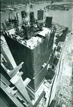 The construction of the World Trade Centre, New York City.